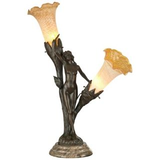 Dale Tiffany Floral Lady Bronze Art Glass Table Lamp   #X3742