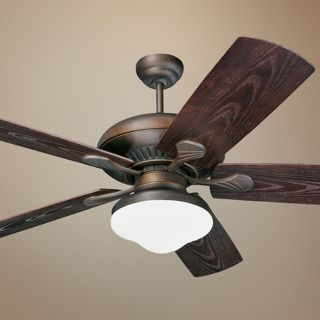 "54"" Monte Carlo Shores Bronze Outdoor Ceiling Fan with Light   #36378"