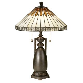 Dale Tiffany Feather And Diamond Art Glass Table Lamp   #98212