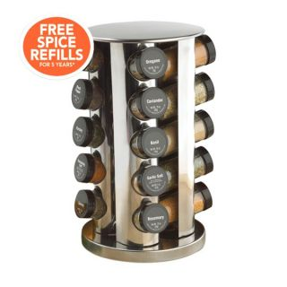 Kamenstein 20 Jar Filled Revolving Stainless Steel Spice Rack