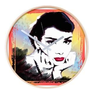 Audrey Hepburn Glamour Sketch   Wall Clock for $54.50