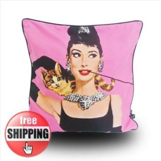 Audrey Hepburn MODERN PINK PRINT PICTURE POP ART PILLOW CASE CUSHION