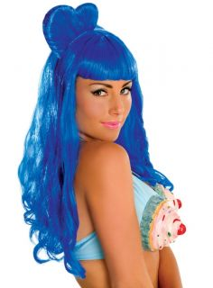 Katy Perry California Gurls Long Blue Halloween Costume Wig Adult