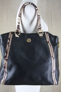 New Tory Burch Kellan Python Black Leather Tote Bag $550 Large s
