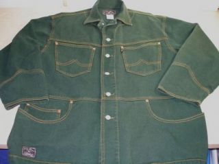Lucky Brand Green Dungarees Jean Jacket Denim Size L Vintage