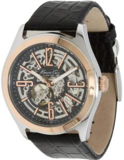 Mens Kenneth Cole KC1792 Automatic Skeleton Rose Gold Watch