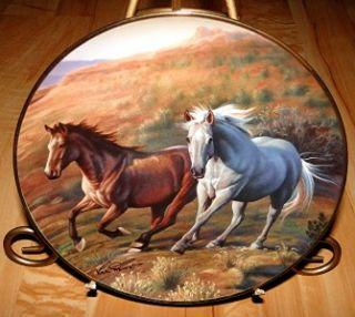 Running Free Kirk Heinert Franklin Mint White Brown Horse Plate