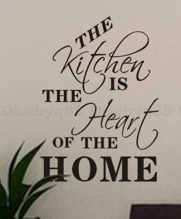 kitchen is home heart Wall Quote decal Removable stickers decor Vinyl