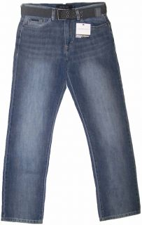 Calvin Klein Mens Relaxed Straight Jeans w Belt Light Wash