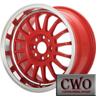 16 Red Konig Retrack Wheels Rims 4x100 4 Lug Civic Mini XB Cobalt