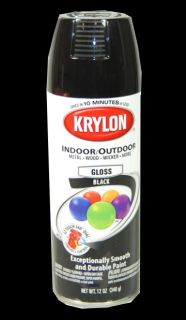 New Krylon 51601 Gloss Black Aerosol Spray Paint Can