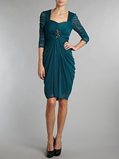 Adrianna Papell Evening Long sleeve sweetheart neck dress Emerald