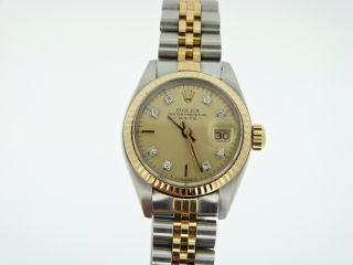 Ladies Rolex 2Tone 18K Yellow Gold Stainless Steel Date Watch w