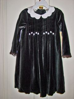 Laura Ashleys Girls Black Velvet Party Dress Sz 3