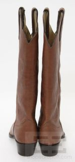 Larry Mahan Brown Leather Tall Almond Toe Western Boots