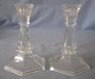 Princess House Clear Lead Crystal Candlestick Holder Hexagon Shape