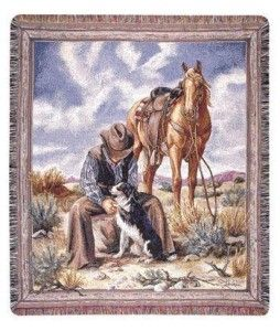 Good Company Cowboy Western Horse Throw Blanket Afghan