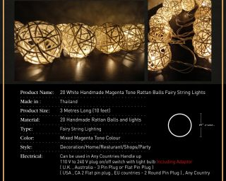 Handmade Rattan Balls Fairy String Lights Wedding Party Home Decor