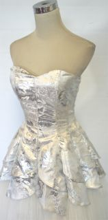 Masquerade $220 Silver Formal Prom Party Gown 3