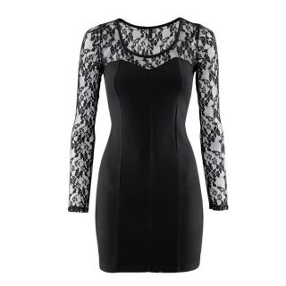 Sexy Long Sleeves Lace Sleeve and Shoulder Little Black Dress