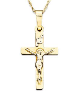 14k Two Tone Gold Small Crucifix Pendant   Necklaces   Jewelry