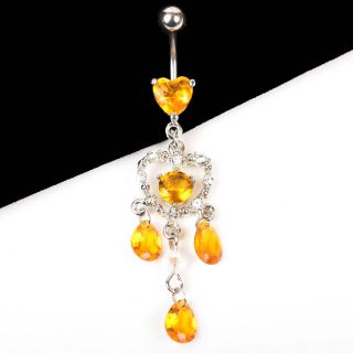 Dangle Long Heart Orange Topaz Rhinestone Crystal Belly Button Ring