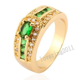 Size 5 6 7 8 9 Deluxe Ladys 10KT Yellow Gold Filled Emerald