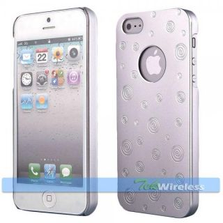 Silver Aluminum Swirl Circle Lollipop Metallic Chrome Snap Case Cover