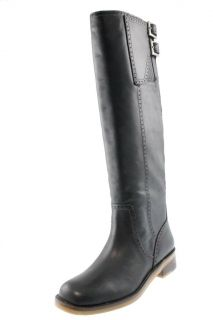 Lucky Brand New Andria Black Leather Buckle Knee High Boots Block Heel