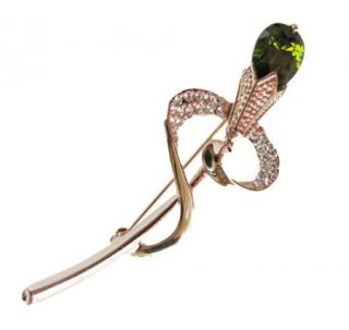 9ct Green Flower Brooch Pin Gold GF Authentic Swarovski Crystal