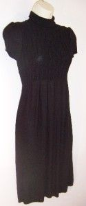 MSSP Black Turtle Neck Pullover Stretch Short Sleeve Sweater Dress XS