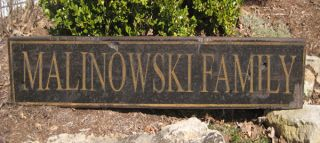 Malinowski Family Name Sign Personalized Lastname Painted Wooden Sign