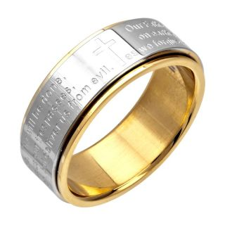 Mens Lords Prayer Spinner Stainless Steel Ring INOX Gold Silver Size 8