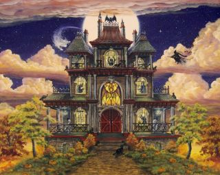 Folk Art Halloween Print Ghostly Manor Haunted House Witch Ghost Bat