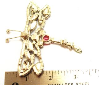 Vintage Huge Brooch Pin Multicolored Rhinestone Dragonfly Figural