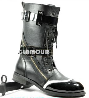 Punk Gothic Mens Black Buckle Military Combat Boots Lace Up Shoes