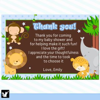 30 Personalized Jungle Safari Thank You Cards Notes Blue Birthday Baby