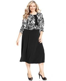 Jessica Howard Plus Size Dress and Jacket, Sleeveless Floral Print