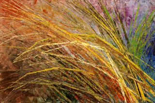 Texture Painting Grass Original Landscape Abstract Art Tatiana Summer