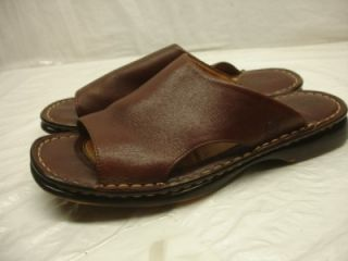 Born Melyssa Dark Brown Leather Slide Sandals Shoes Womens Sz 7 38