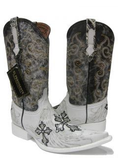 Mens White Fancy Rock Star Dance Exotic Leather Cowboy Boots Western