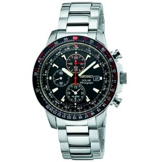 Mens Solar Flight Aviator Alarm Black Dial Chronograph SSC007 Watch