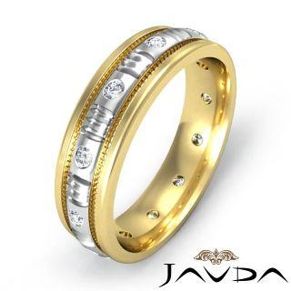 Mens Diamond Eternity Wedding Band 14k Gold 2Tone Millgrain Solid Ring