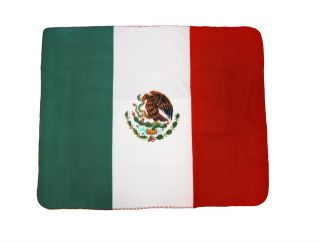 Mexican Flag Fleece Throw Blanket Mexico 60` x 50`