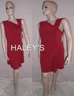 Michael Kors Petite Red Asymmetrical Zipper Dress 12P