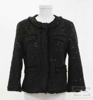 Michael Michael Kors Black Sequin Tweed Jacket Size 8