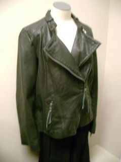 Michael Kors Motorcycle Jacket with Pick Stitch Detail L Charcoal