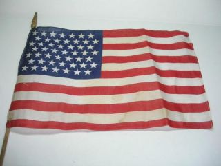 INV#12FLAG) 2 VINTAGE 49 STAR UNITED STATES AMERICAN FLAGS ON STICKS.