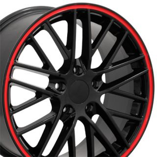 18 Corvette C6 ZR1 Black Red Lip Wheels Set of 4 Rims Fits Chevrolet