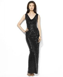 Lauren Ralph Lauren Dress, Sleeveless Sequin Cowl Neck Gown